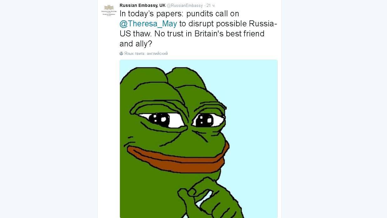 Sun: Посольство России в Лондоне раскритиковали за мем «лягушки-неонациста»
