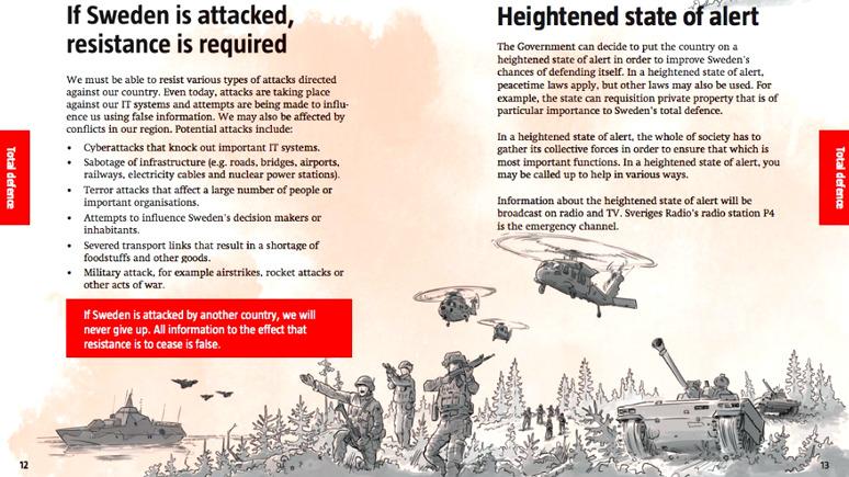 Брошюры оповедении вовремя войны вышлют жителям Швеции